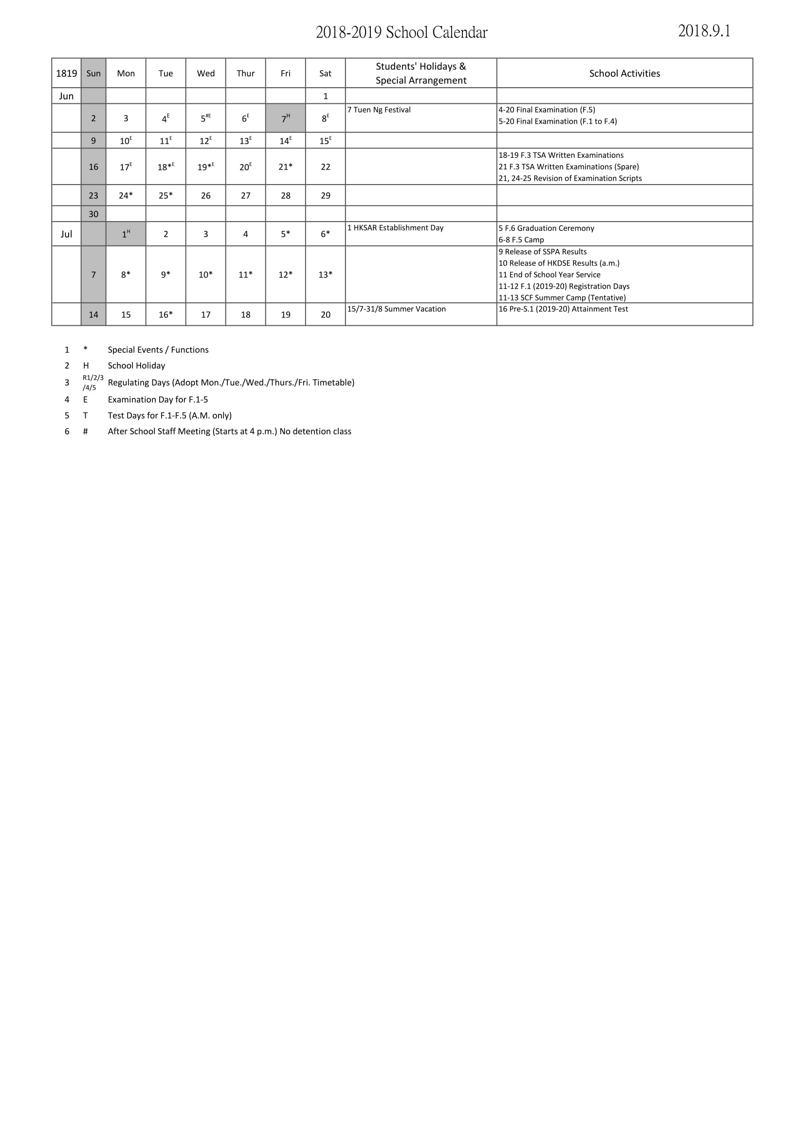 Calendar - Wa Ying College